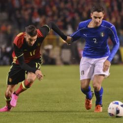 Belgium's Belgium's Yannick Carrasco, left,  right, fights for the ball with Italy's Mattia De Sciglio during a friendly soccer match at the King Baudouin stadium in Brussels on Friday, Nov. 13, 2015. (AP Photo/Geert Vanden Wijngaert)